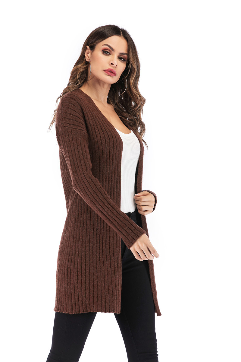 Fall Winter Cute Knitted Middle Long Ribbed Cardigan Dress for Women Kawaii Ladies Knit Drop Shoulder Sweater Coat Oversized S-L 23