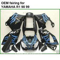 Hot body parts for Yamaha fairings kit YZFR1 1998 1999 blue flames black injection mold fairings set YZF R1 98 99 CN39