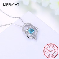 I Love You To The Moon And Back Double Heart 925 Sterling Silver Pendant Necklace Colar