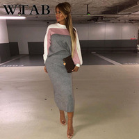 WTAB NEW Mid Calf full women dress casual Striped print two pieces winter dress bodycon o neck female knitted dresses robe femme