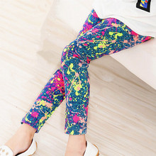 Kids Children Girl Leggings Milk Silk Printing Flower Baby Girls Legging Spring Autumn Fashion Cotton Babys Girl Pants 2-14 Year