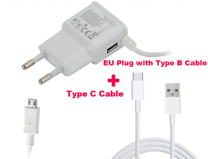 Wall Type B USB Mobile Phone <font><b>Charger</b></font> 2A+Type C USB Cable For Nokia N1, Lumia 950/950 XL,<font><b>LeEco</b></font> Le Pro 3 AI Edition,Oneplus 5