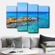 Laeacco 4 Panel Natural Wall Art Canvas Calligraphy Painting Sea Stone Posters and Prints Nordic Home Living Room Decor