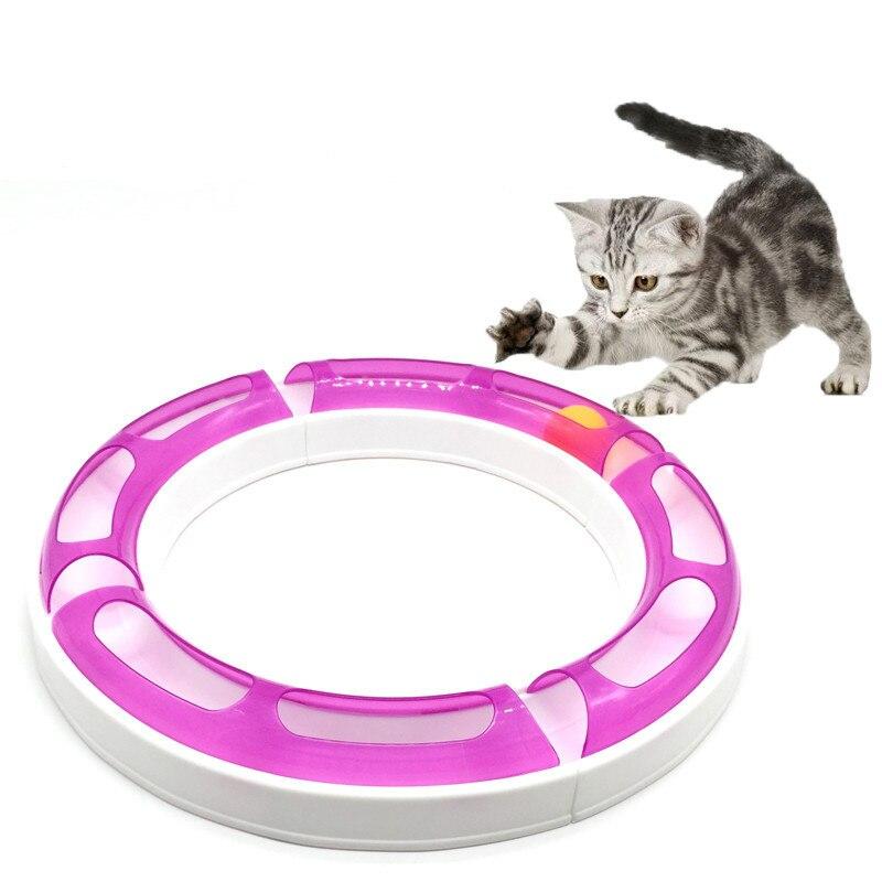 Nuovo Divertente Gatto giocattolo Combinazione Pista e Palla Giocattoli Chase gioco Domestico del Gatto track ball giradischi teiera piatto giocattolo gatto palla