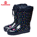 FLAMINGO branded 2017 new collection spring-autumn fashion gumboots with wool quality anti-slip kids shoes for girls 71-HL-0008