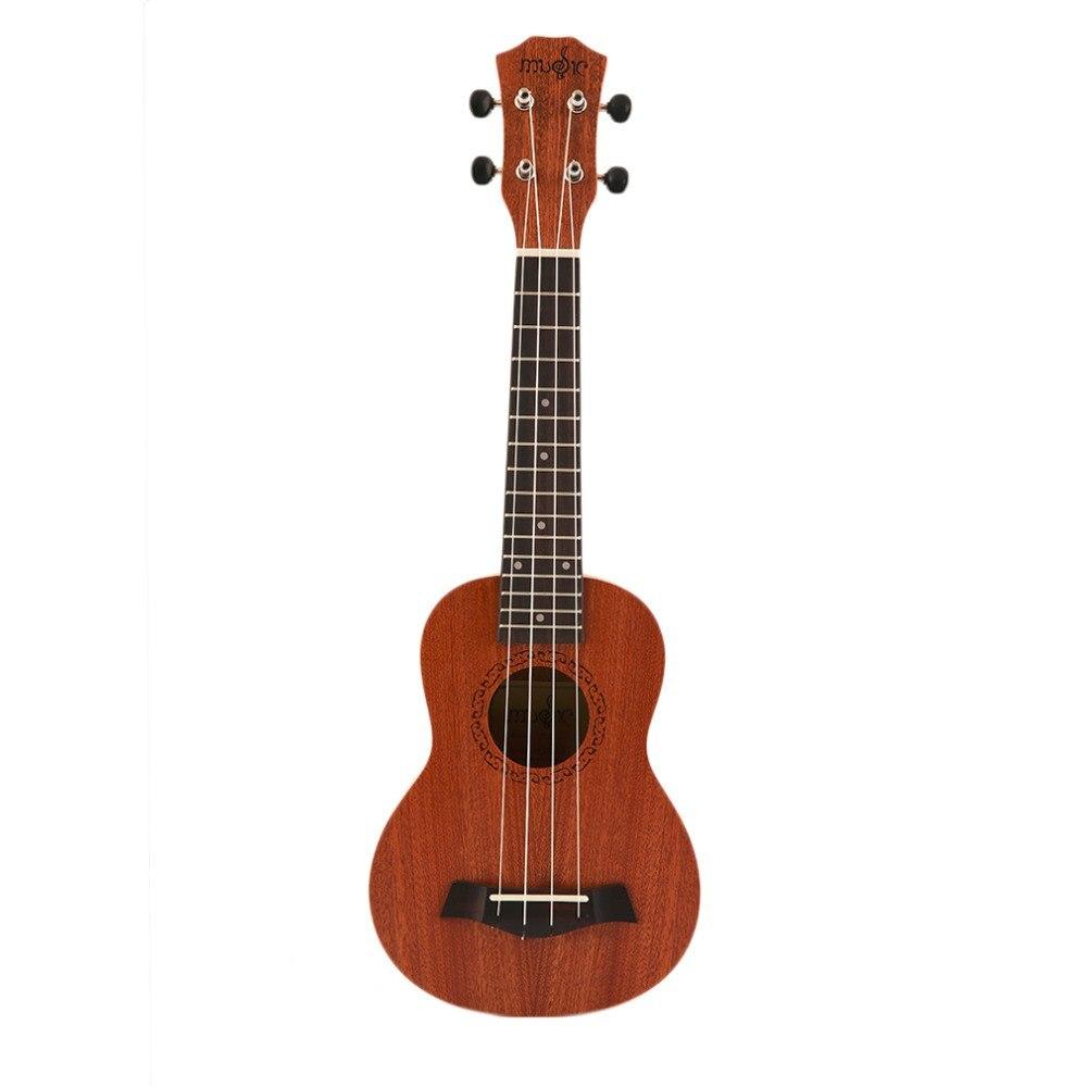 21 Inch Ukulele Ukelele Soprano Mahogany Wood With Carry Bag Uke Strap Strings Clip-on Tuner Cleaning Cloth Finger