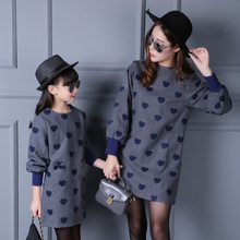 2016 Cotton Mother Daughter Dress Fashion Solid Dresses For Girls And Ladies Autumn Girls Clothes