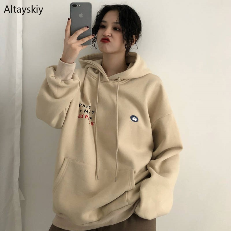 Women Hooded Printed Simple Korean Style Leisure Soft Pullovers Womens Daily Sweatshirts