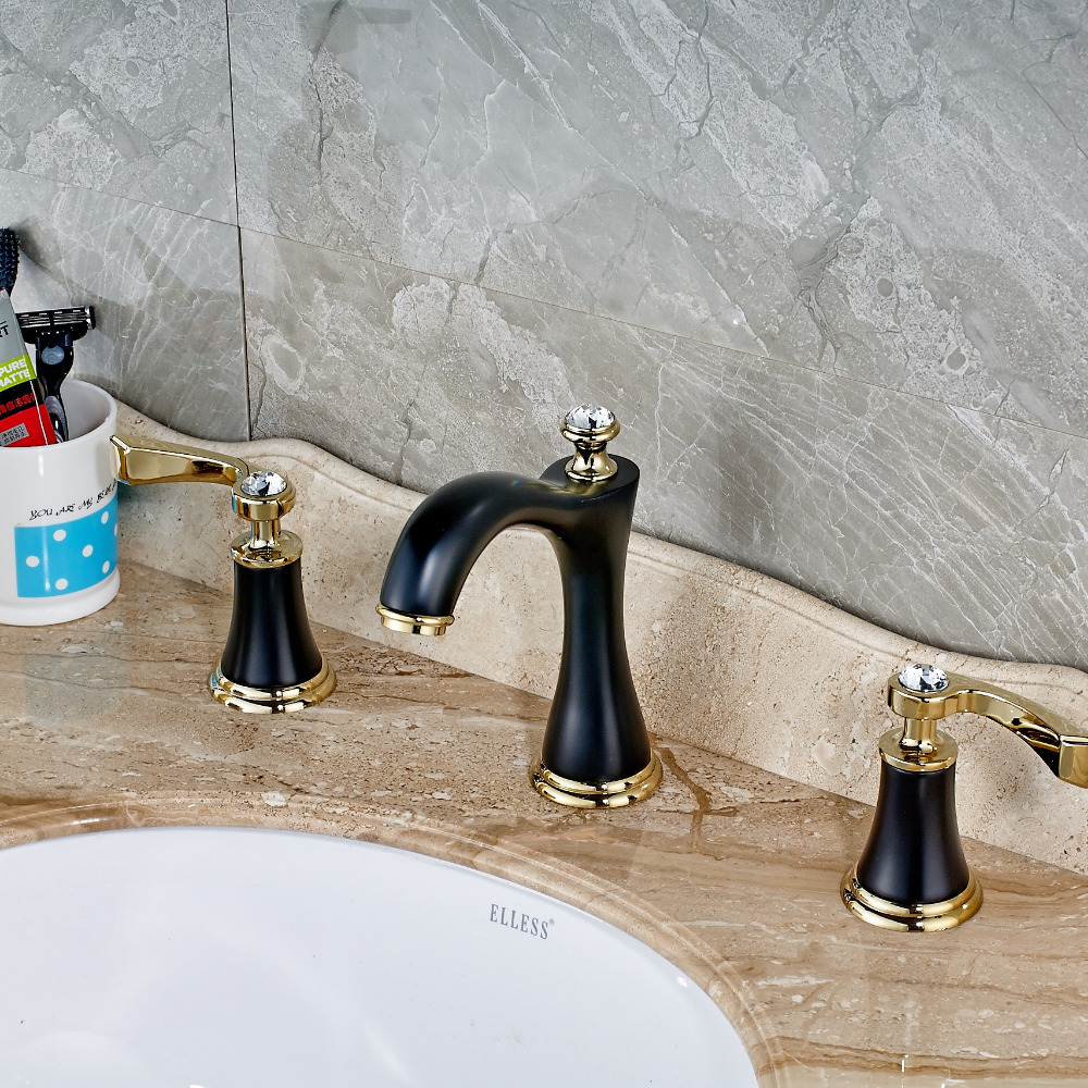 Newly Oil Rubbed Bronze Solid Brass Bathroom Sink Faucet Mixer Tap Basin Faucet Crystal Mixer Tap newly solid brass oil rubbed bronze 3pcs bathroom sink basin faucet mixer tap dual ceramics handle three holes deck mounted
