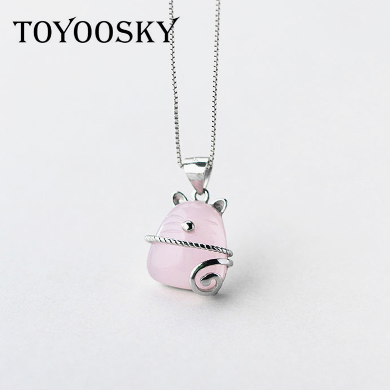 Animal Lucky Cat Pendant Necklace 925 Silver Charm Chain Necklaces High Quality Fashion Women Jewelry Best Friend Gift