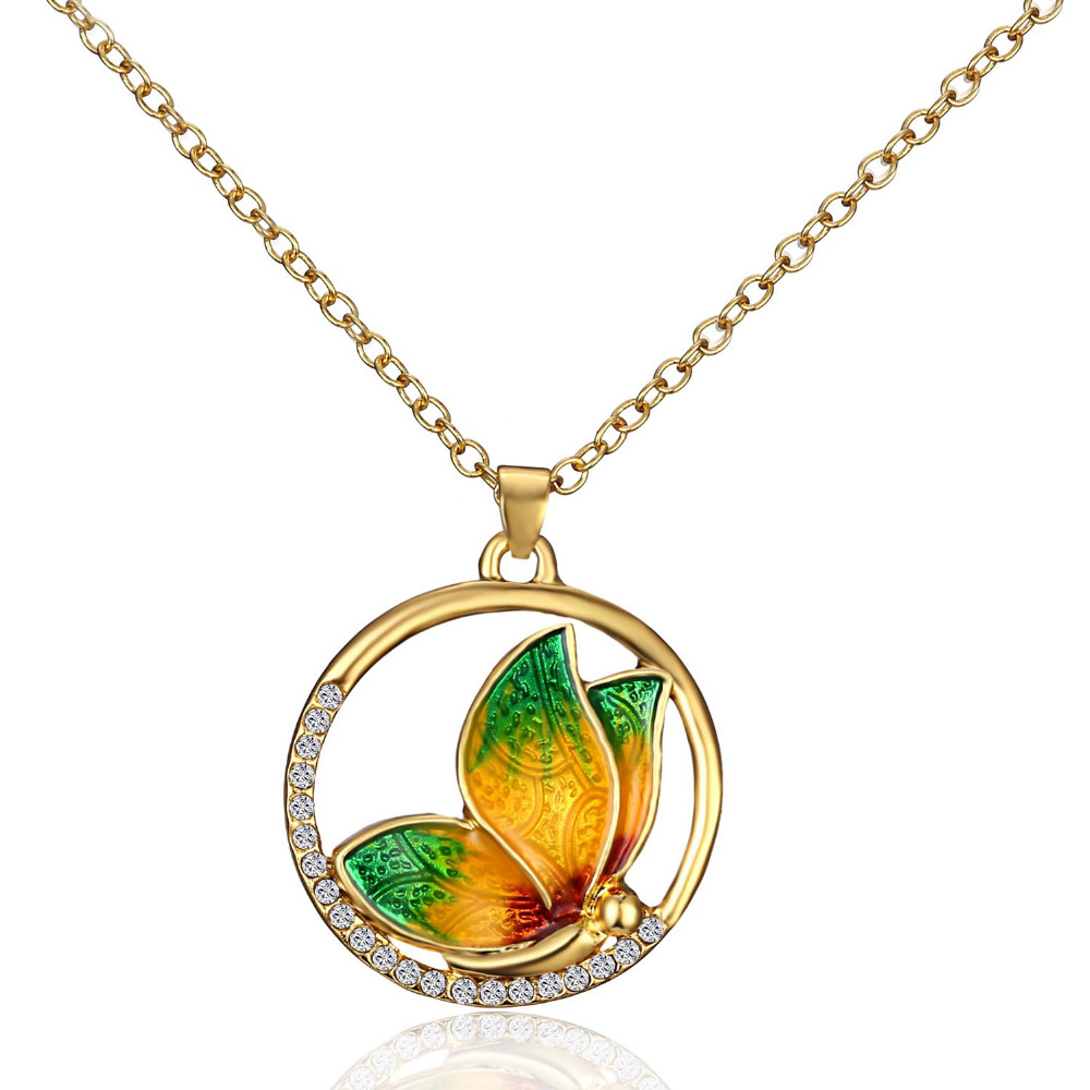 Butterfly Necklace Pendant Crystal Statement Shiny Bow Chain Fashion Necklace Jewelry For Girls Gift