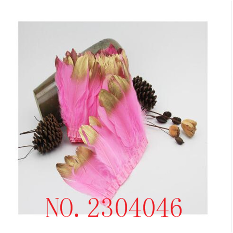 17 years new 2 meters long pink goose feathers dip gold head made of cloth side DIY dress headdress down decoration