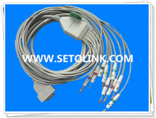 GE MAC500/1200 ECG CABLE EKG CABLE 10 LEADS BANANA 4.0 END TPU MATERIAL