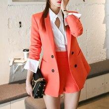 Alta calidad mujer trajes dos piezas Rojo Negro conjunto chaqueta  pantalones cortos traje Casual Delgado Blazer a5cfa0dc727