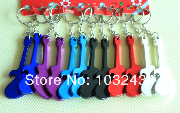 72Pcs Aluminum Alloy Guitar Bottle Opener Keyring Keychain Metal Colourful Rocking Accessory Free Shipping