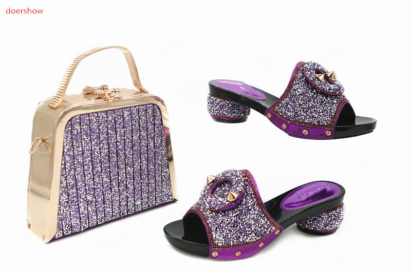 doershow Shoes and Bag To Match Italian Nigerian Party Shoes and Bag Set Summer African Style Shoes and Bag Set  for lady TN1-18 doershow high quality italian shoe and bag to match women shoes african party shoes and bag set green with rhinestone kh1 3