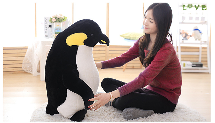big new plush penguin toy lovely stuffed black penguin doll birthday gift about 80cm big lovely panda toys sitting panda plush doll with red heart soft toy birthday gift about 90cm