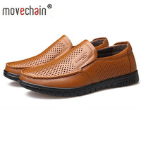 Movechain Men's Genuine Leather Summer Casual Hole Loafers Men Fashion Soft Comfortable Shoes Man Leather Breathable Shoe
