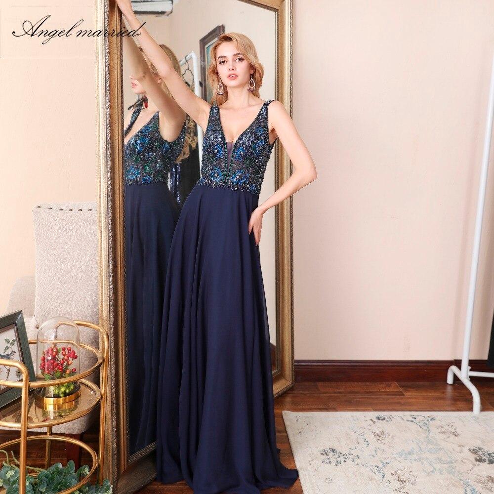 Ange marié sexy dos nu robes de soirée profonde col en v robes de bal bleu marine femmes robe de soirée formelle vestido de festa longo