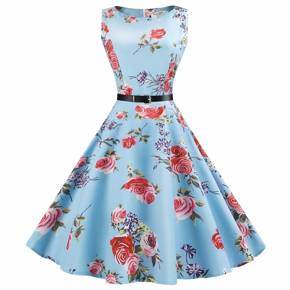 Audrey Hepburn Vintage O Neck Αμάνικο Ζώνη Ball Gown - Γυναικείος ρουχισμός