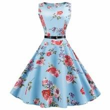 Audrey Hepburn Vintage O Neck Sleeveless Belt  Ball Gown Dress Women Summer Rockabilly Casual Party 50s 60s Dress C7603