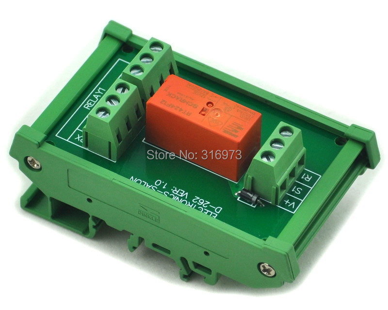 DIN Rail Mount Passive Bistable/Latching DPDT 8A Power Relay Module, 12V Version