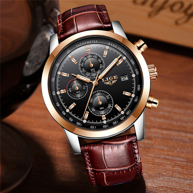 Mens Watches Top Brand Luxury Leather Quartz Watch Men Military Sport waterproof Gold Watch 2