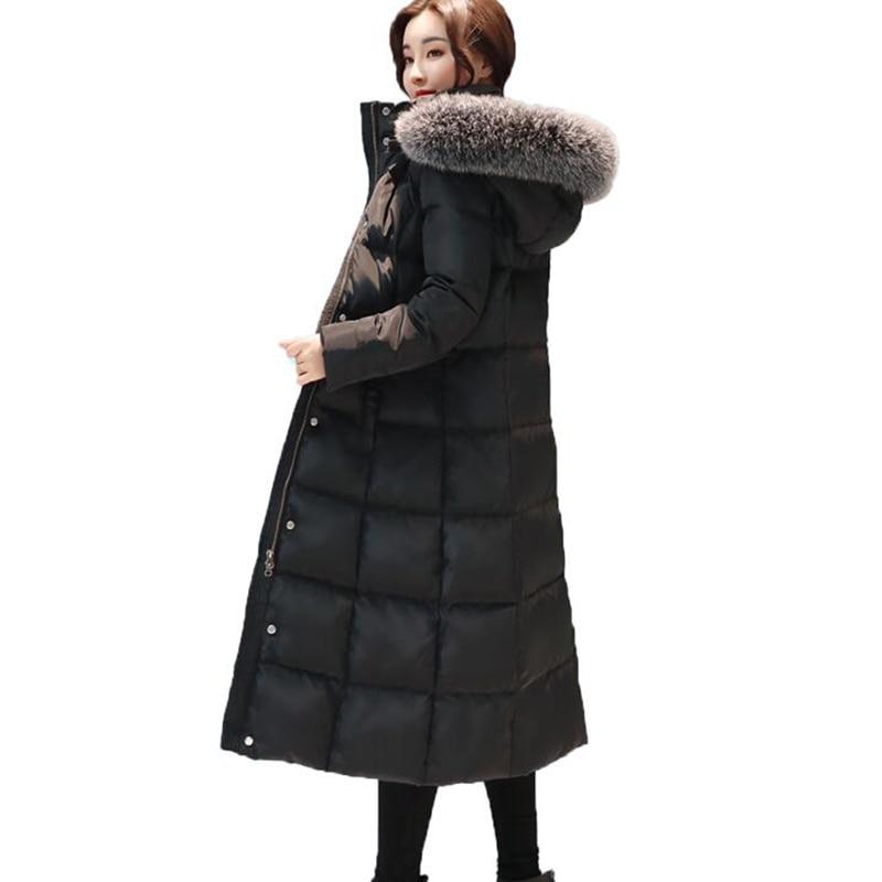 2019 New Arrival Women Winter Coat Fur Collar White Duck Down Jackets Solid Hooded Long Outerwear Female Warm Down Coat