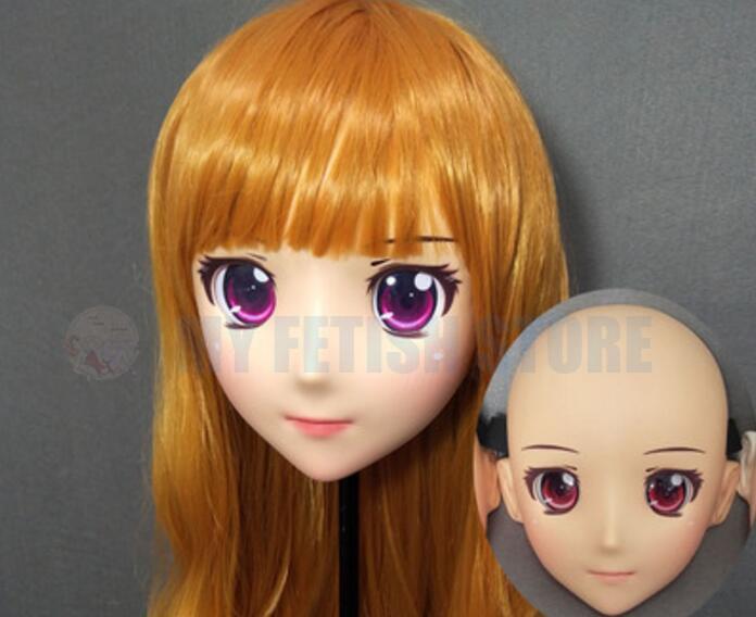 (GL91961) Sweet Girl Resin Half Head Female Kigurumi Crossdress Cosplay Japanese Anime Role Lolita Doll Mask Full Set
