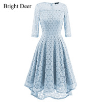 New Women Elegent Floral Lace Mermaid Dress 3 4 Sleeve Swing Fit And Flare Vintage Party