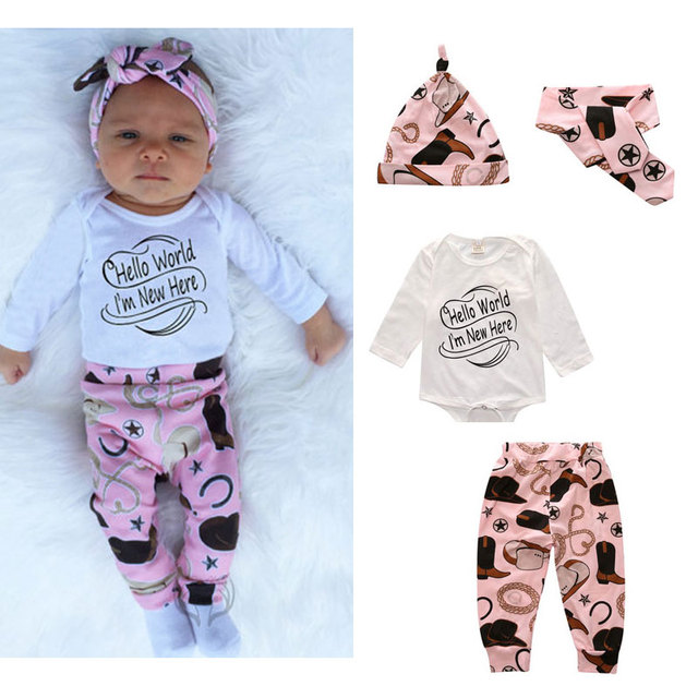 0e408c3f0a3d New 4Pcs Cute Baby Girl Clothes New Born Gift Long Sleeve Romper Sets  Christmas Outfit Infant
