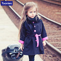 Girls Trench Coat Winter Kids Long Sleeve Button Polka Parka Belt Jacket New Fashion Children Bow knot Autumn Outwear Clothing