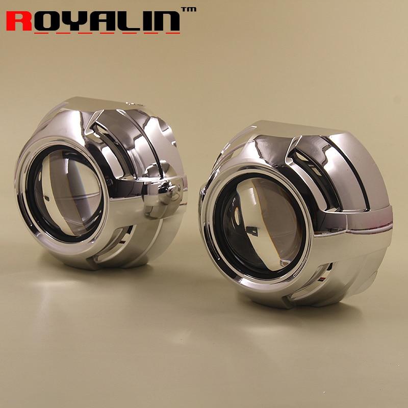 ФОТО ROYALIN Car-styling 2.5 Bi-xenon H1 HID Projector Headlights Lens LHD RHD w/ Apollo 2.0 Shrouds for H4 H7 Auto lamps Retrofits