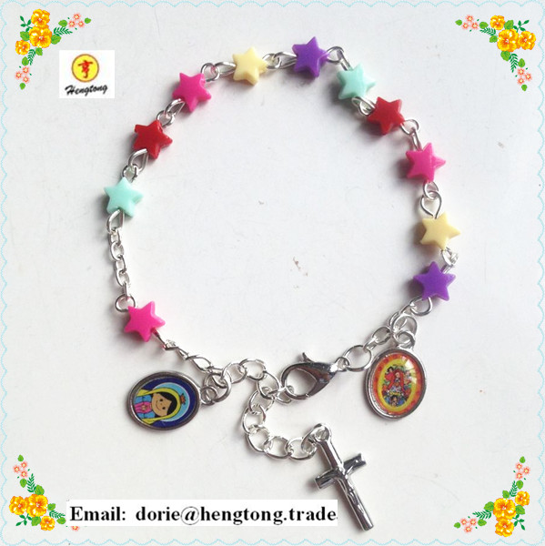 Free Shipping 10pcs/pack Star Bead Baby Virgin Guadalupe Children Rosary, Colorful Icon Rosary Cute Icons Bracelet Special Offer