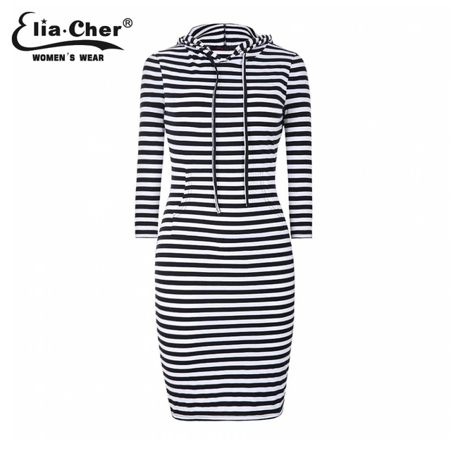Women Summer Clothing Casual Striped Sheath Hooded bodycon Dress Plus size  Female Thin Knee Knitting Dresses f02e4cf6a555