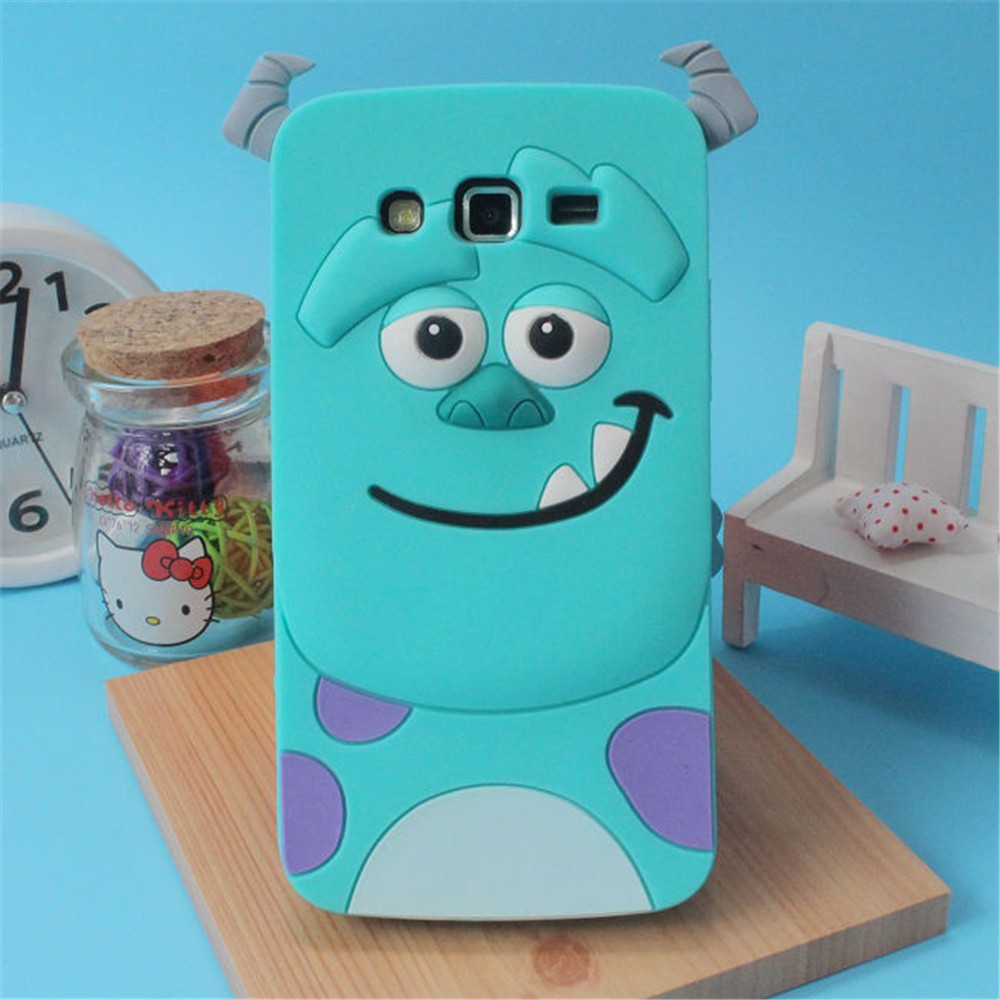 Cute 3D Cartoon Monsters Silicone <font><b>Case</b></font> For <font><b>Samsung</b></font> Galaxy <font><b>Grand</b></font> <font><b>2</b></font> <font><b>G7102</b></font> G7106 G7105 Skin Cover image
