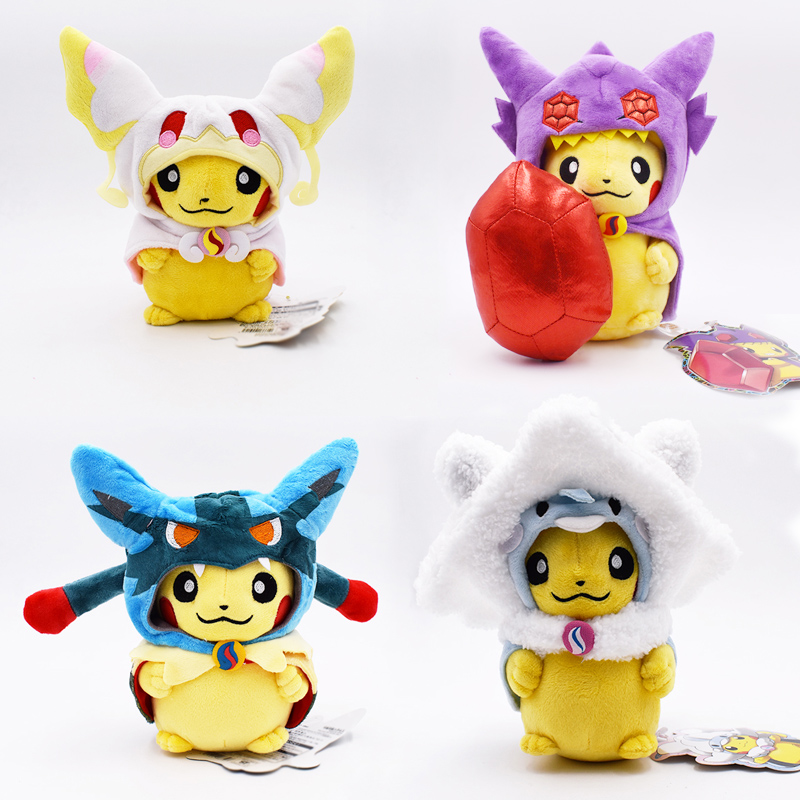 4 Styles 20-22cm Pikachu Cosplay Lucario  Sableye Altaria Audino Tabu Nai Stuffed Plush Toys Doll For Kids Free Shipping