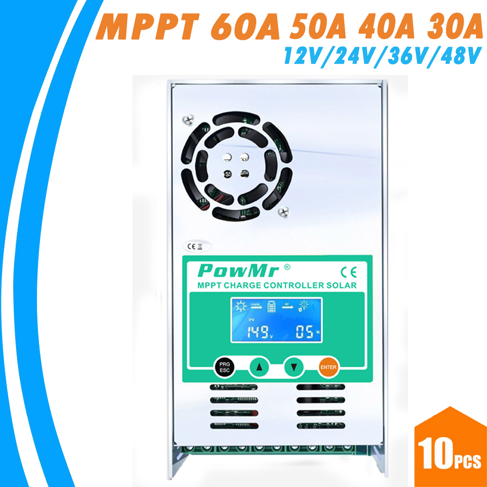 10PCS MPPT 60A 50A 40A 30A Solar Charge Controller 12V 24V 36V 48V Auto for Max 190VDC Input Vented Sealed Gel Nicd Li Regulator все цены