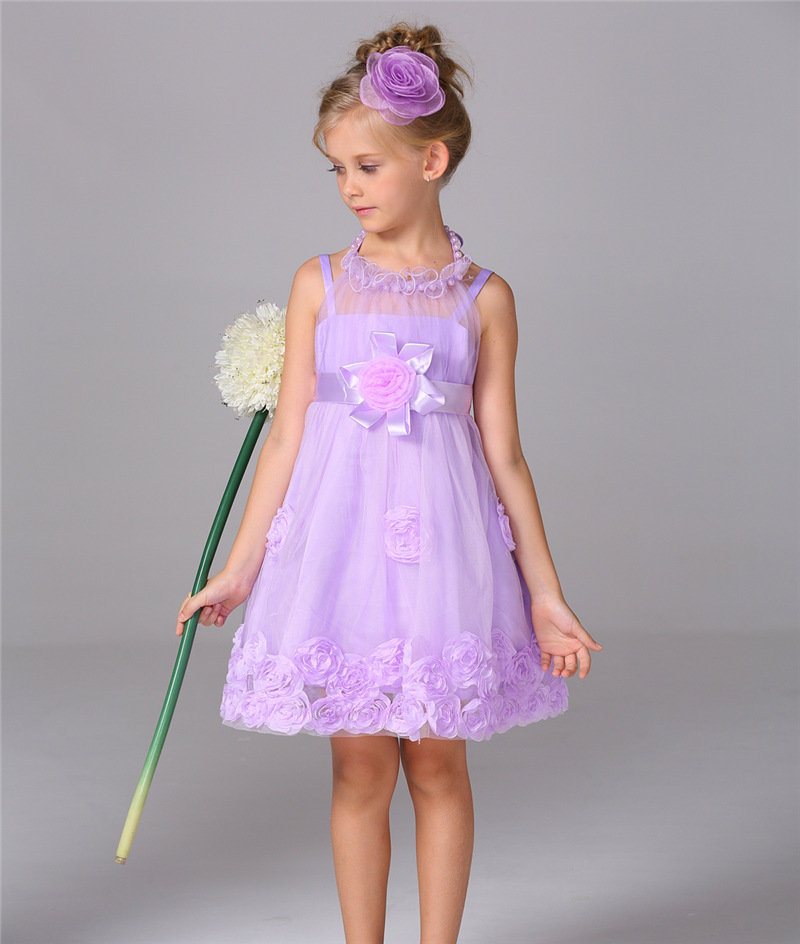 Elegant Princess Flower Girl Dresses Sleeveless Mesh Pageant Dresses First Communion Dresses for Girls Mother Daughter Dresses