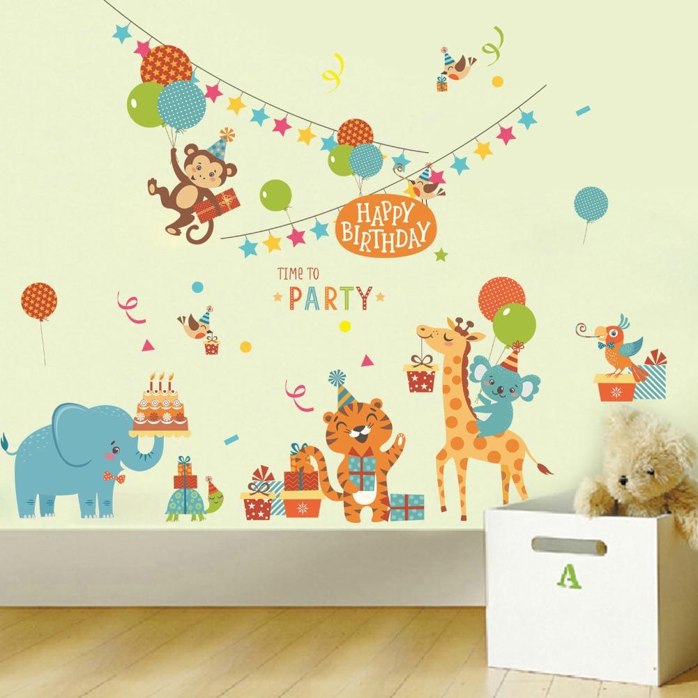 Padr O De Elefante Dos Desenhos Animados Do Jardim Zool Gico  -> Adesivo Decorativo Na Parede De Tv