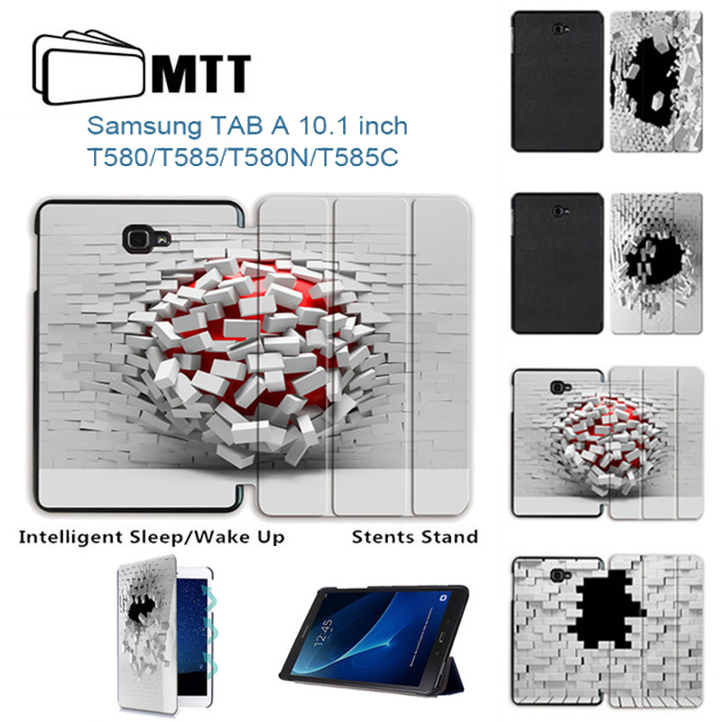 MTT Fashion Blasting wallhole Case For Samsung Galaxy Tab A A6 10.1 2016 T585 T580 T580N Flip PU leather stand tablet Cover 360 rotary flip open pu case w stand for 10 5 samsung galaxy tab s t805 white
