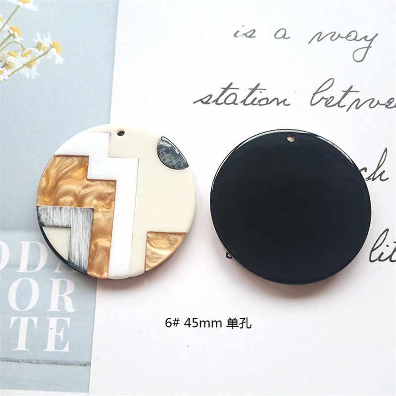 ラウンド正方形のファッションユニークな 2 個アクリル模倣大理石の質感チャームイヤリングのための手作りイヤリング Diy アクセサリー