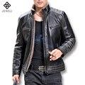 2016 Pelle Giacca Uomo Jaqueta De Couro Masculina Chaquetas Abrigos de Los Hombres de Moda Casual Slim Fit Chaquetas De Cuero de La Motocicleta M-4XL