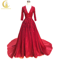 Rhine 100 Real Picture Half Sleeves Burgundy Lace Appliques Ball Gown Formal Dress Evening Dress