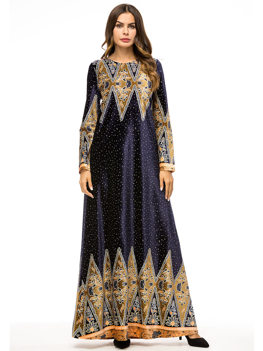 Muslim Women Long Sleeves Velvet Embroidery Dubai Dress Maxi Abaya Jalabiya Islamic Women Clothing Robe Kaftan Moroccan 7320