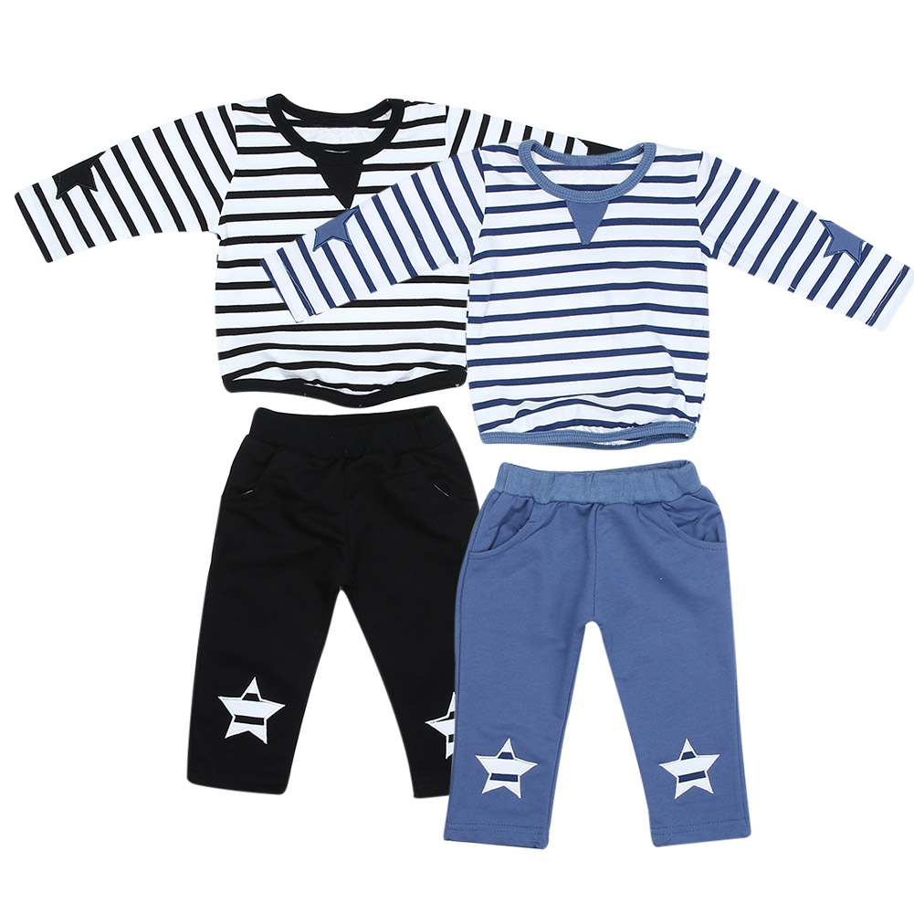 2pcs Baby Kids Clothing Set Toddler Boy Striped Long Sleeve Tops + Blue Pants Outfits Boys Casual Clothes