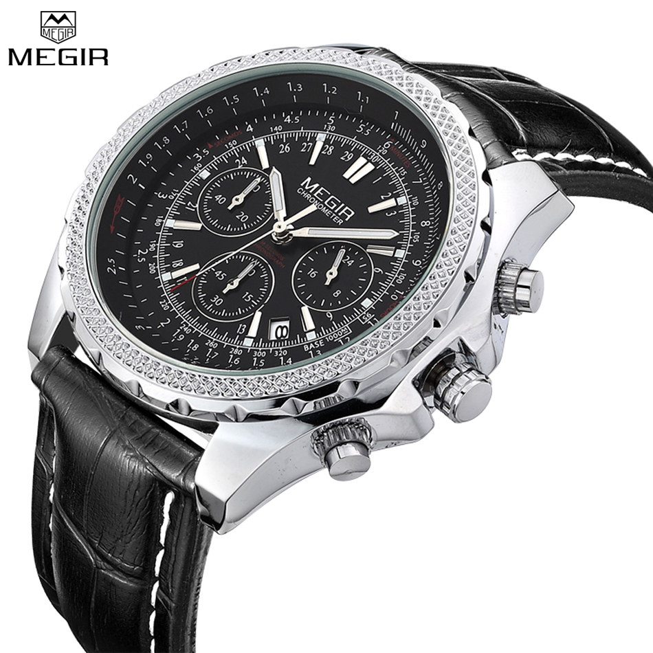 MEGIR Brand Men Sport Casual Male Watches Leather Strap Quartz Fashion Military Chronograph Watches Clock Relogio