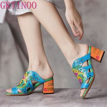 GKTINOO 2020 Female Shoes High Heel Slides Shoes Woman Peep Toe Genuine Leather Casual Slides Sandals Lady Slipper Plus Size