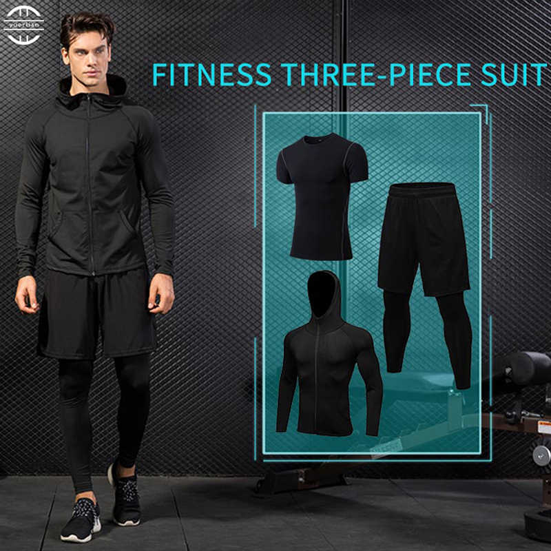 Yuerlian 3Piece Men's Compression Running Suit Sports Set Quick-drying T-shirt And Men's autumn zipper hooded jacket tights pant