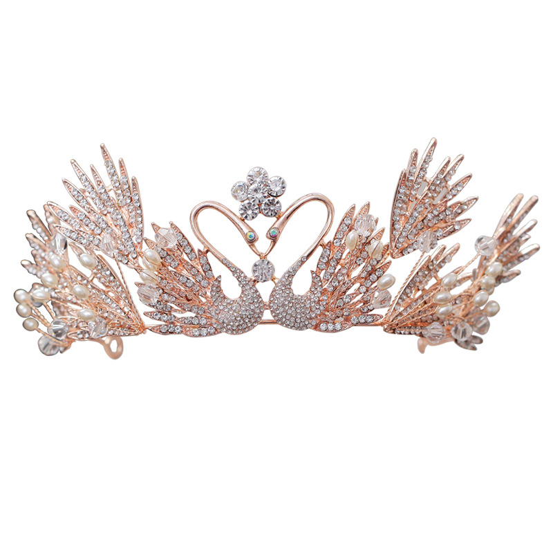 Classic Princess Wedding Crown Fashion Double Swan Crystal Pearls Bridal Tiara Headband Birthday Bride Crown Hair Accessories